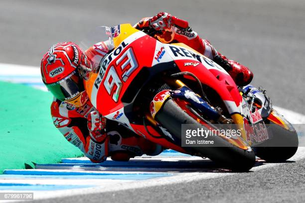 Marc Marquez of Spain and the Repsol Honda Team rides during the MotoGP of Spain at Circuito de Jerez on May 7, 2017 in Jerez de la Frontera, Spain.