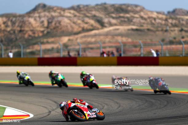 Marc Marquez of Spain and the Repsol Honda Team rides during the MotoGP of Aragon at Motorland Aragon Circuit on September 24 2017 in Alcaniz Spain