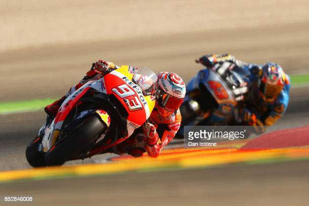 Marc Marquez of Spain and the Repsol Honda Team rides during warm-up before the MotoGP of Aragon at Motorland Aragon Circuit on September 24, 2017 in...