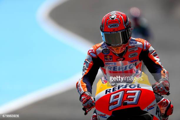 Marc Marquez of Spain and the Repsol Honda Team rides out to the grid before the MotoGP of Spain at Circuito de Jerez on May 7 2017 in Jerez de la...