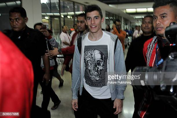 Marc Marquez of Spain from Repsol Honda Team seen arriving at SoekarnoHatta International Airport on February 12 2016 in Tangerang Indonesia Marquez...