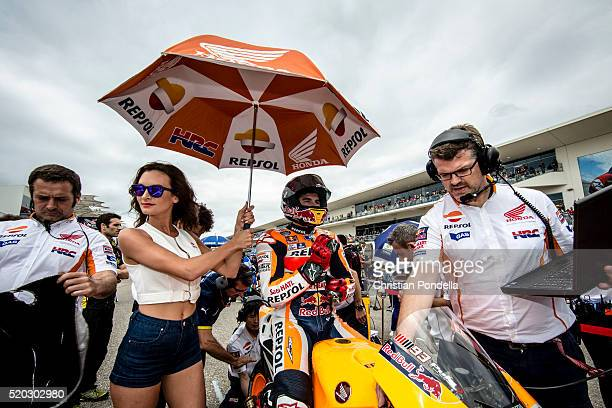 Marc Marquez of Spain gets ready on the grid during the MotoGP Red Bull US Grand Prix of The Americas Race at Circuit of The Americas on April 10...