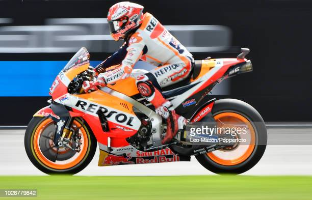 Marc Marquez of Spain on his Repsol Honda during the qualifying session for Sundays race at Silverstone Circuit on August 25 2018 in Northampton...
