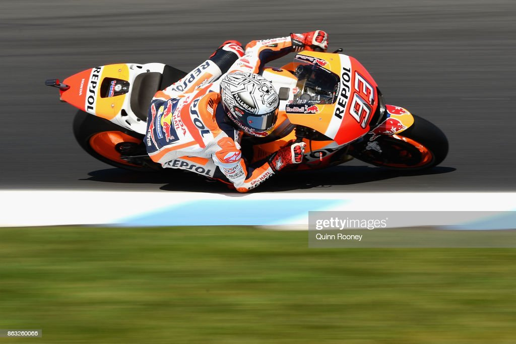 Marc Marquez of Spain rides the #93 REPSOL HONDA during free practice for the 2017 MotoGP of Australia at Phillip Island Grand Prix Circuit on October 20, 2017 in Phillip Island, Australia.