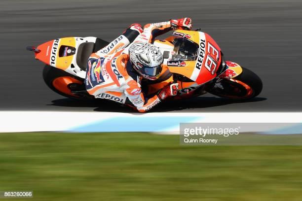Marc Marquez of Spain rides the REPSOL HONDA during free practice for the 2017 MotoGP of Australia at Phillip Island Grand Prix Circuit on October 20...