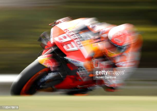 Marc Marquez of Spain rides the Repsol Honda Team Honda during practice for the 2019 MotoGP of Australia at Phillip Island Grand Prix Circuit on...
