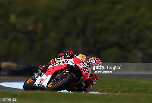 Marc Marquez of Spain rides the Repsol Honda Team Honda during practice for the 2014 MotoGP of Australia at Phillip Island Grand Prix Circuit on...