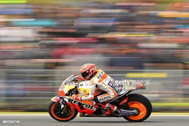 Marc Marquez of Spain rides the REPSOL HONDA TEAM Honda during qualifying for the 2017 MotoGP of Australia at Phillip Island Grand Prix Circuit on...