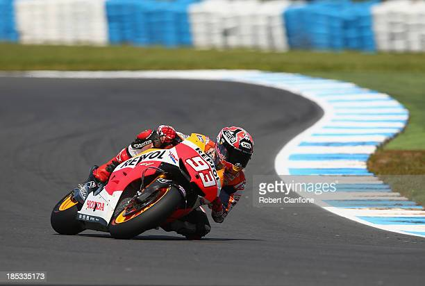 Marc Marquez of Spain rides the Repsol Honda Team Honda during free practice at Phillip Island Grand Prix Circuit on October 19, 2013 in Phillip...