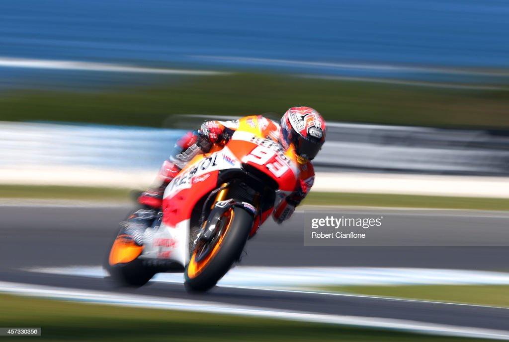 Marc Marquez of Spain rides the #93 Repsol Honda Team Honda during free practice for the 2014 MotoGP of Australia at Phillip Island Grand Prix Circuit on October 17, 2014 in Phillip Island, Australia.