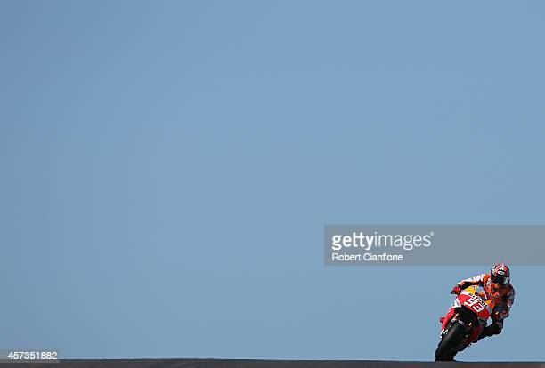 Marc Marquez of Spain rides the Repsol Honda Team Honda during free practice for the 2014 MotoGP of Australia at Phillip Island Grand Prix Circuit on...
