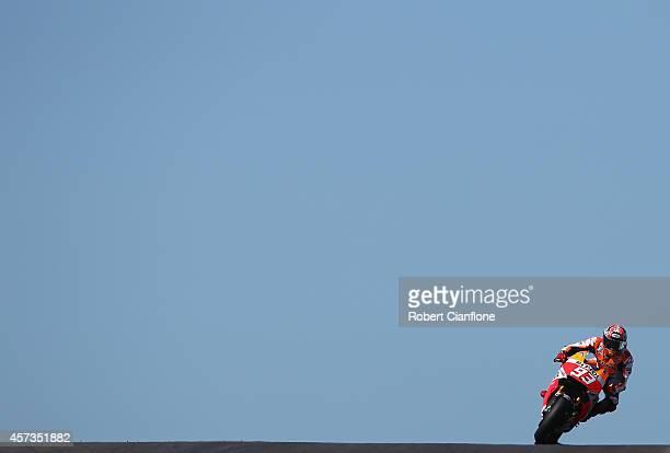 Marc Marquez of Spain rides the Repsol Honda Team Honda during free practice for the 2014 MotoGP of Australia at Phillip Island Grand Prix Circuit on...