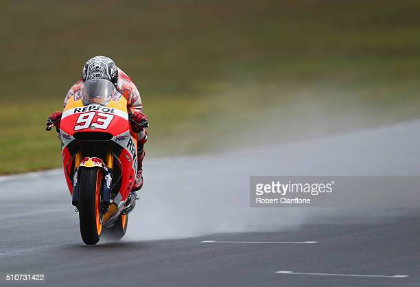 Marc Marquez of Spain rides the Repsol Honda Team Honda during the 2016 MotoGP Test Day at Phillip Island Grand Prix Circuit on February 17 2016 in...