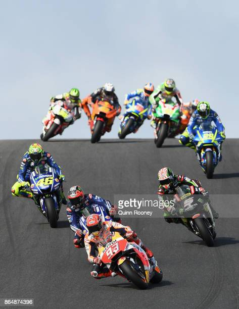 Marc Marquez of Spain riding the REPSOL HONDA TEAM Honda leads the field during the 2017 MotoGP of Australia at Phillip Island Grand Prix Circuit on...