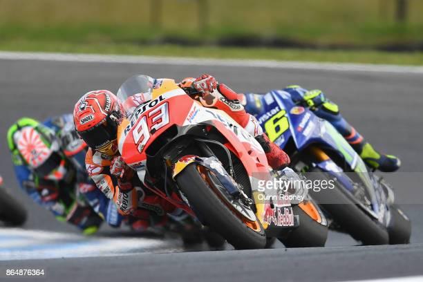 Marc Marquez of Spain riding the REPSOL HONDA TEAM Honda leads the field during the 2017 MotoGP of Australia at Phillip Island Grand Prix Circuit on...
