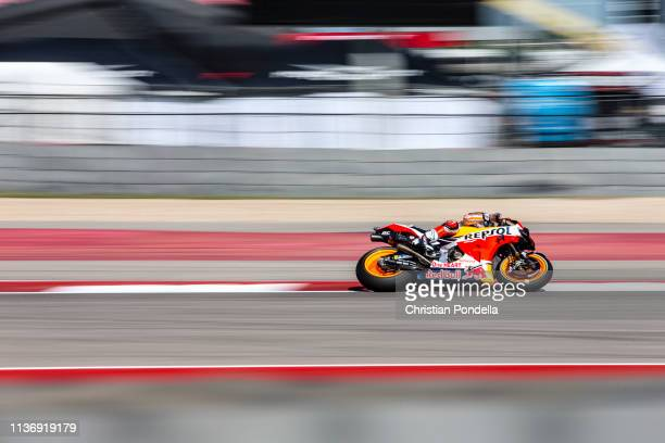 Marc Marquez of Spain rounds the bend during Free Practice 1 at the MotoGP Red Bull US Grand Prix of The Americas at Circuit of The Americas on April...
