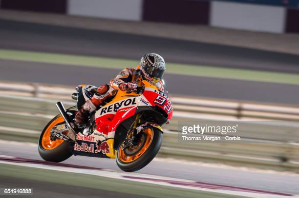 Marc Marquez of Spain who rides Honda for Repsol Honda during the final MotoGP winter test at Losail International Circuit on March 10 2017 in Doha...