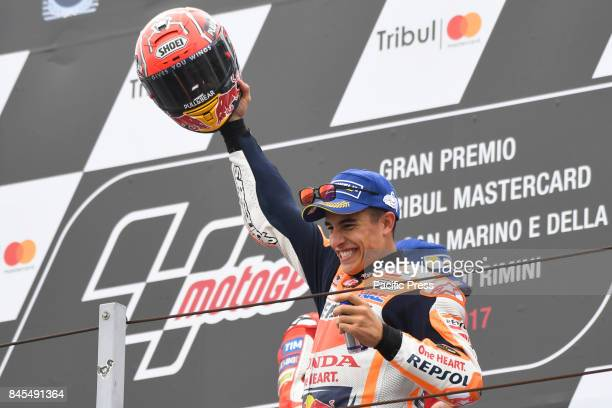 Marc Marquez on podium during race day at Misano world circuit for San Marino GP