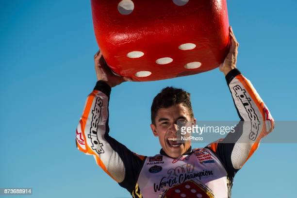 Marc Marquez Repsol Honda Team Honda celebrates his MotoGP championship during the Gran Premio Motul de la Comunitat Valenciana Circuit of Ricardo...