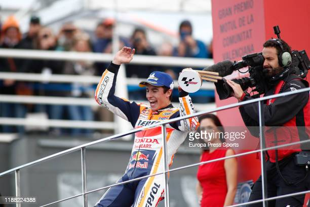 Marc Marquez, rider of Repsol Honda Team from Spain, celebrates the victory and the World Champion Title during the podio after the MotoGP Race...
