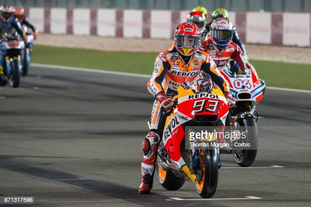 Marc Marquez who rides Honda for Repsol Honda waiting on the start grid during the Grand Prix of Qatar at the Losail International Circuit north of...