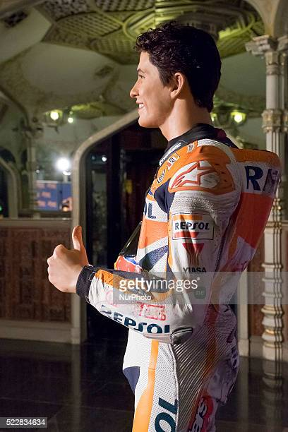 Marc Marquez's Wax figure at Wax Museum on April 21 2016 in Madrid Spain The wax figure in honor of his sport career is presented just before the...