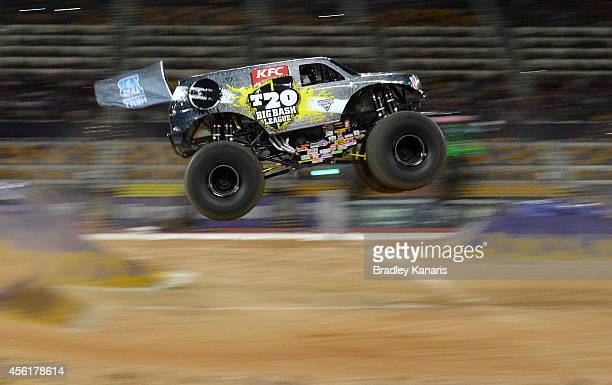 Marc McDonald representing the Big Bash League goes over the jump during Monster Jam at Queensland Sport and Athletics Centre on September 27 2014 in...