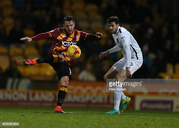 Marc McNulty of Bradford City attempts a shot at goa lduring the Sky Bet League One match between Bradford City and Northampton Town at The Northern...