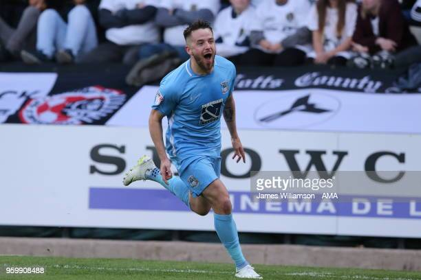 Marc McNulty of Coventry City celebrates after scoring a goal to make it 10 during the Sky Bet League Two Play Off Semi FinalSecond Leg between Notts...