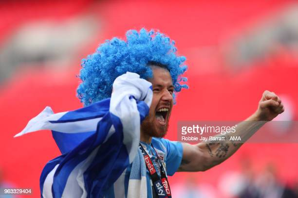 Marc McNulty of Coventry City celebrates during the Sky Bet League Two Play Off Final between Coventry City and Exeter City at Wembley Stadium on May...