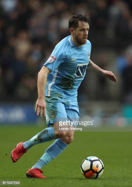 Marc McNulty of Coventry City runs with the ball during The Emirates FA Cup Fourth Round match between Milton Keynes Dons and Coventry City at...