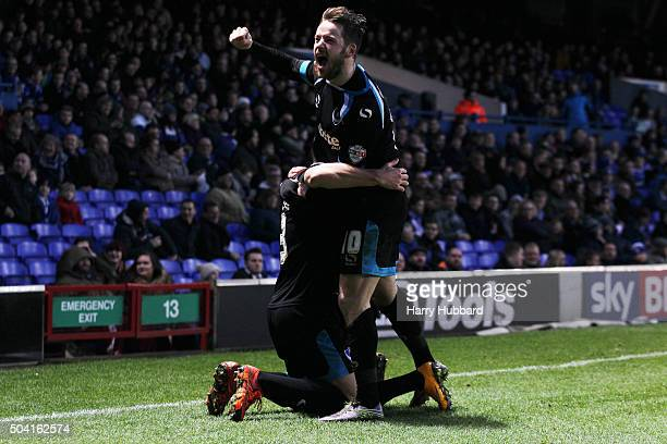Marc McNulty of Portsmouth celebrates Kyle Bennett's goal during the Emirates FA Cup Third Round match between Ipswich Town and Portsmouth at Portman...