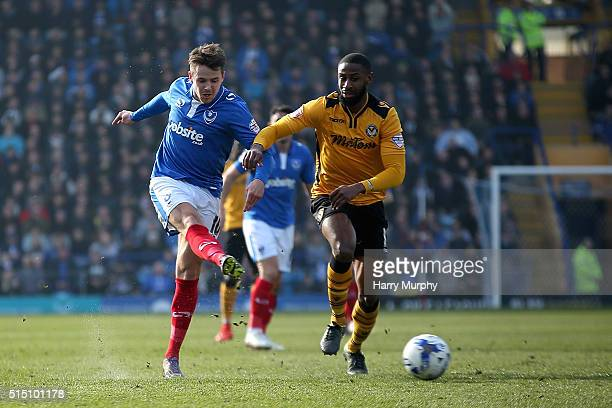 Marc McNulty of Portsmouth shoots during the Sky Bet League Two match between Portsmouth and Newport at Fratton Park on March 12 2016 in Portsmouth...
