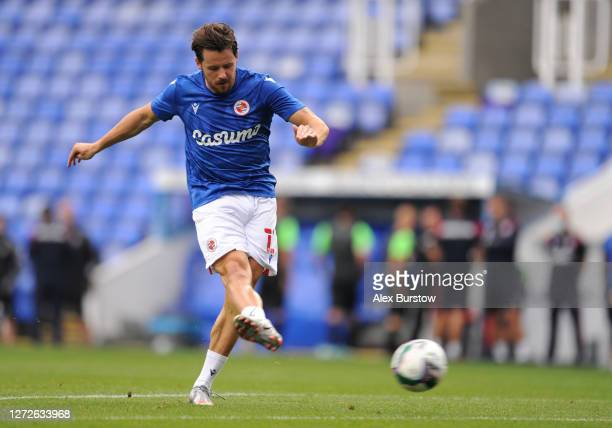 Marc McNulty of Reading FC warms up prior to Carabao Cup Second Round match between Reading FC and Luton Town at Madejski Stadium on September 15...