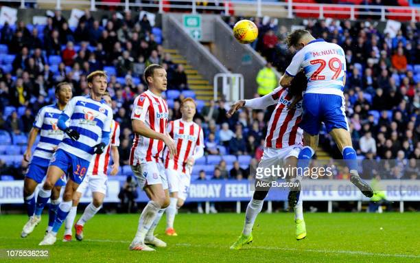 Marc McNulty of Reading scores his team's first goal during the Sky Bet Championship match between Reading and Stoke City at Madejski Stadium on...