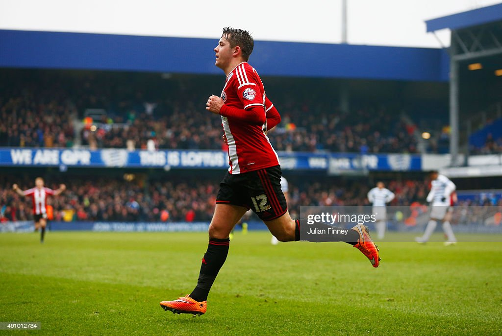 Marc McNulty of Sheffield United celebrates as he scores their first goal during the FA Cup Third Round match between Queens Park Rangers and Sheffield United at Loftus Road on January 4, 2015 in London, England.