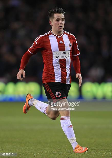 Marc McNulty of Sheff Utd in action during the Capital One Cup SemiFinal Second Leg match between Sheffield United and Tottenham Hotspur at Bramall...