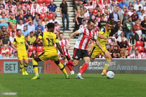 Marc McNulty of Sunderland runs at the Oxford defence during the Sky Bet League One match between Sunderland and Oxford United at Stadium of Light on...