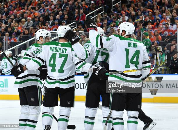 Marc Methot Alexander Radulov Devin Shore and Jamie Benn of the Dallas Stars celebrate after a goal during the game against the Edmonton Oilers on...