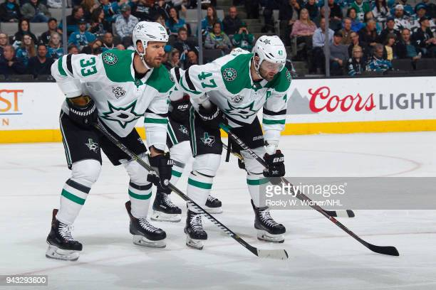 Marc Methot and Alexander Radulov of the Dallas Stars face off against the San Jose Sharks at SAP Center on April 3 2018 in San Jose California Marc...