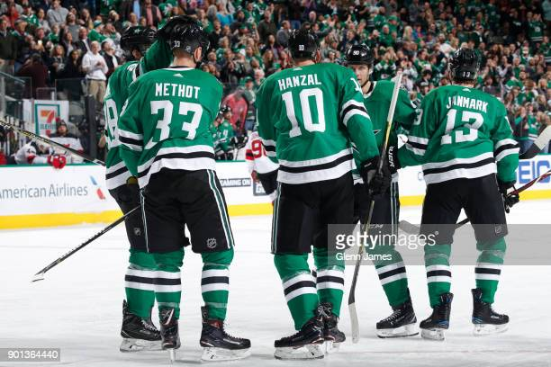 Marc Methot Martin Hanzal Jason Spezza Mattias Janmark and the Dallas Stars celebrate a goal against the New Jersey Devils at the American Airlines...