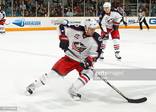 Marc Methot of the Columbus Blue Jackets handles the puck against the San Jose Sharks during an NHL game on November 20 2010 at HP Pavilion at San...