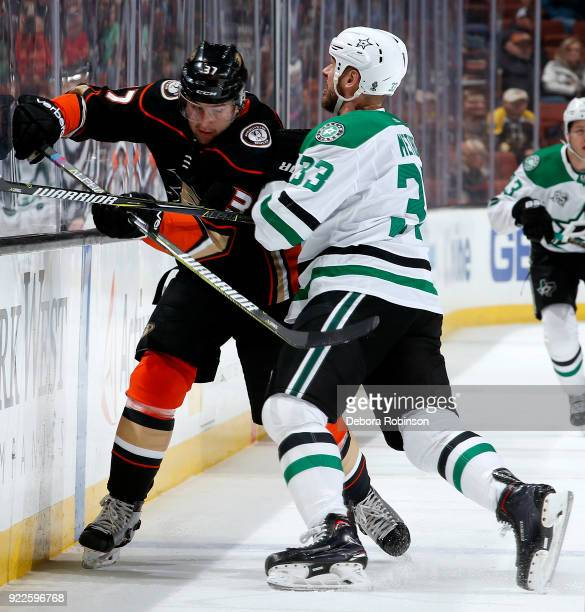 Marc Methot of the Dallas Stars battles for the puck against Nick Ritchie of the Anaheim Ducks during the game on February 21 2018 at Honda Center in...