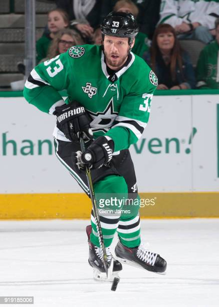 Marc Methot of the Dallas Stars handles the puck against the St Louis Blues at the American Airlines Center on February 16 2018 in Dallas Texas