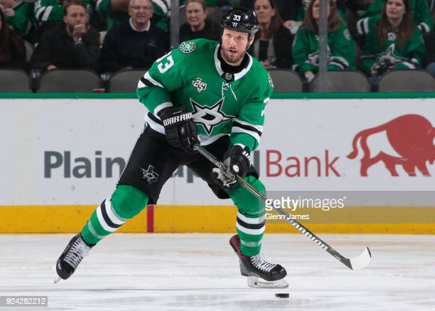Marc Methot of the Dallas Stars handles the puck against the Winnipeg Jets at the American Airlines Center on February 24 2018 in Dallas Texas
