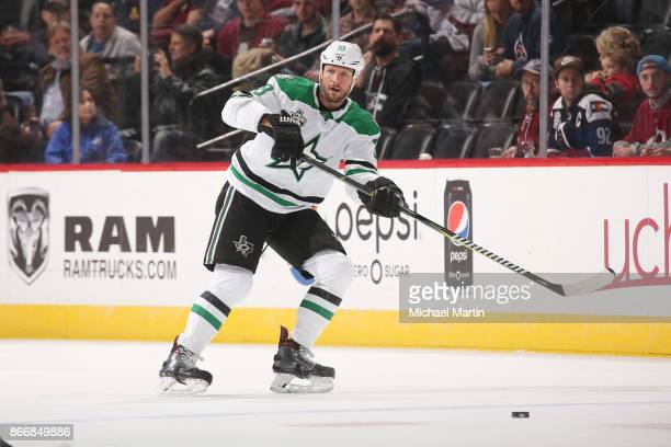 Marc Methot of the Dallas Stars passes against the Colorado Avalanche at the Pepsi Center on October 24 2017 in Denver ColoradoThe Avalanche defeated...