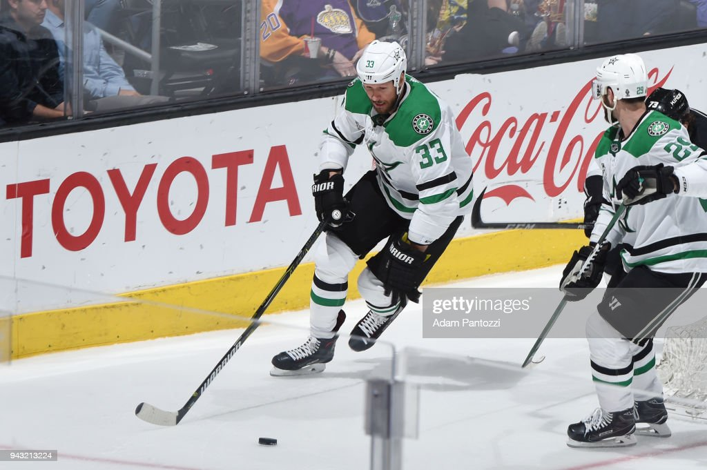 Marc Methot #33 of the Dallas Stars skates after the puck during a game against the Los Angeles Kings at STAPLES Center on April 7, 2018 in Los Angeles, California.