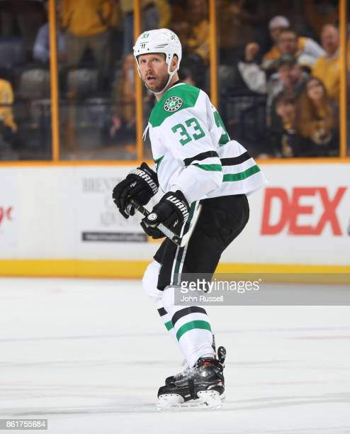 Marc Methot of the Dallas Stars skates against the Nashville Predators during an NHL game at Bridgestone Arena on October 12 2017 in Nashville...