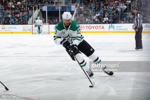 Marc Methot of the Dallas Stars skates with the puck against the San Jose Sharks at SAP Center on February 18 2018 in San Jose California
