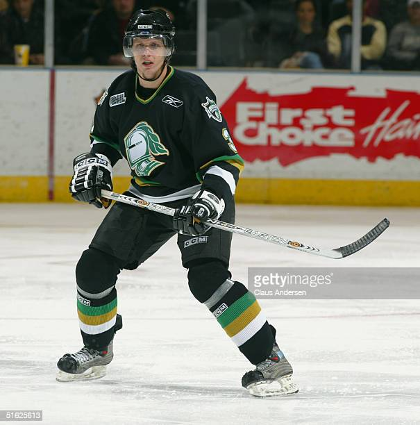 Marc Methot of the London Knights skates back on defense during a game against the Sault Ste. Marie Greyhounds at the John Labatt Center on October...